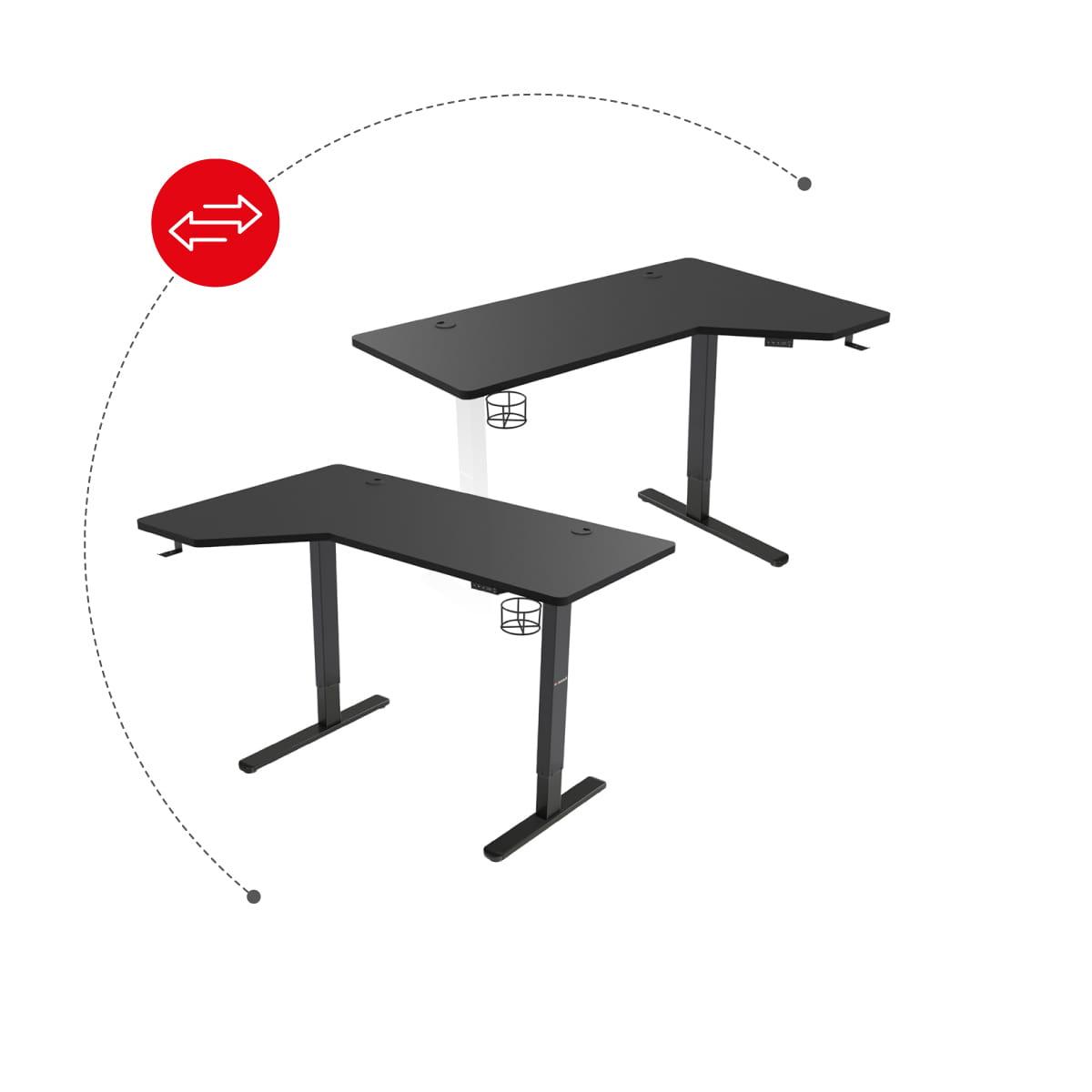 Możliwość dwu stronnego montażu biurku elektrycznego Hero 9.0
